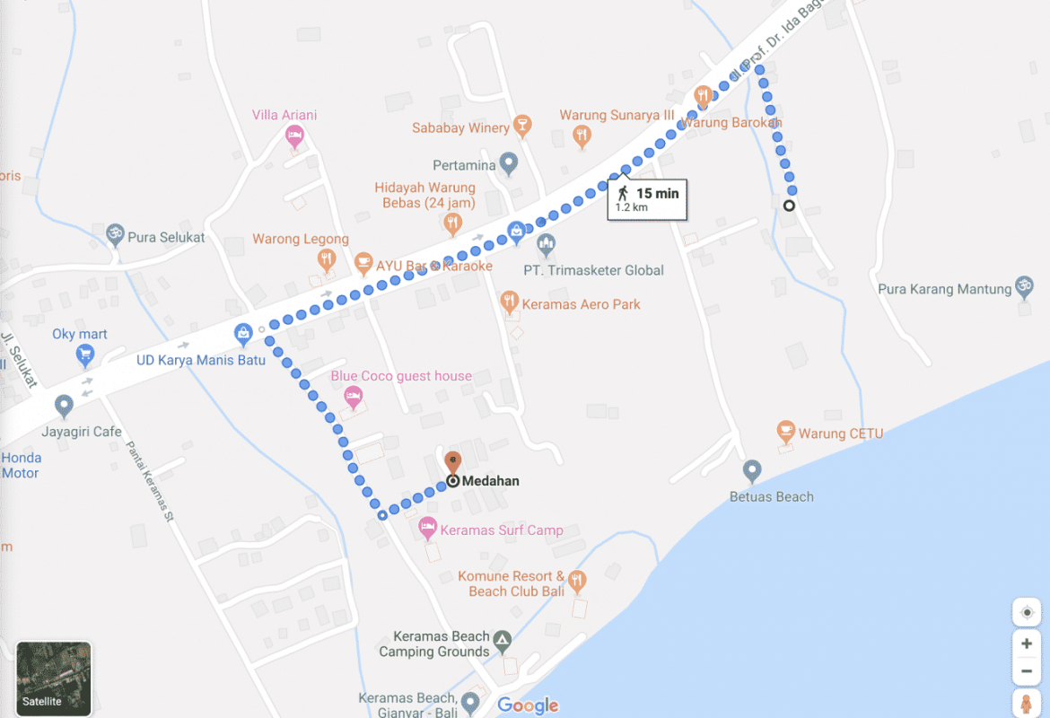 Directions to Kommune Beach Club from Utamas Guest House - Bali Holiday Secrets