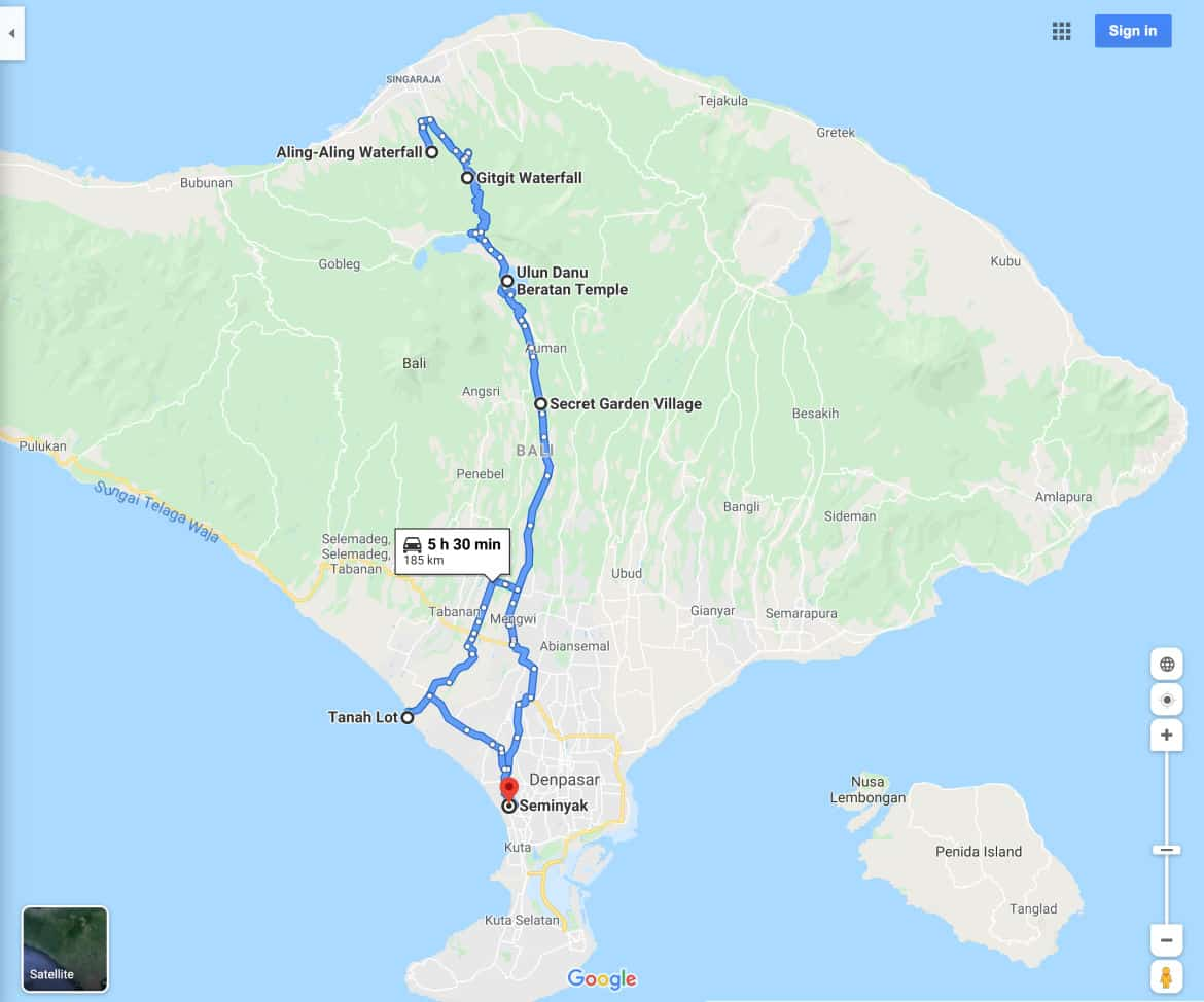Aling-Aling Waterfall Tour Map