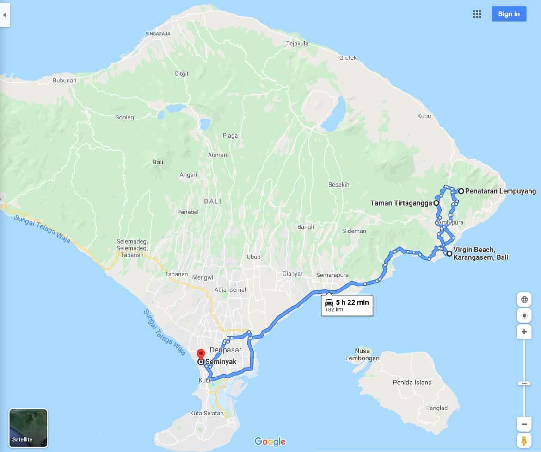 Lempuyang Temple Sunrise Tour Map