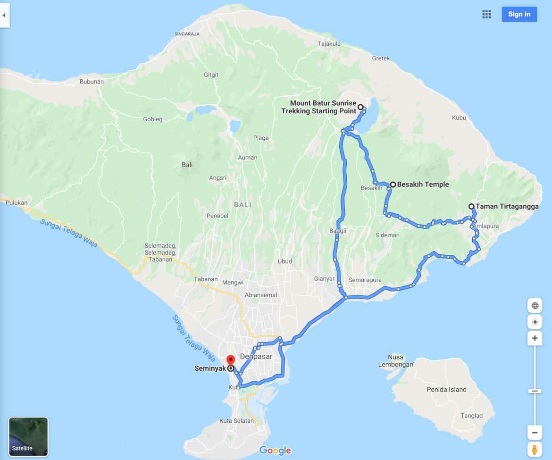 Mount Batur Sunrise Trek Tour Itinerary 2 Map