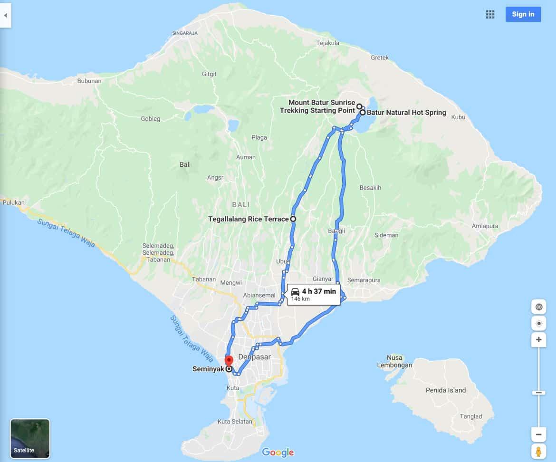 Mount Batur Sunrise Trek Tour Map