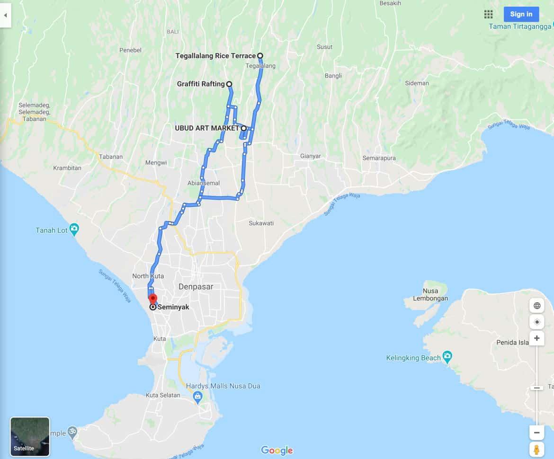 White Water Rafting Ubud Tour Map